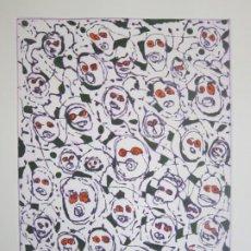 Arte: MULTITUD - GRABADO DE GAP (GUILLERMO ANTÓN PARDO) - 39X49,5CM - AGUATINTA AL AZÚCAR COLOREADA A MANO. Lote 194227953