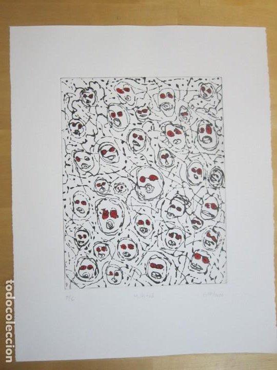Arte: Multitud - Grabado de GAP (Guillermo Antón Pardo) - 39x49,5cm - Aguatinta al azúcar coloreada a mano - Foto 9 - 194228343
