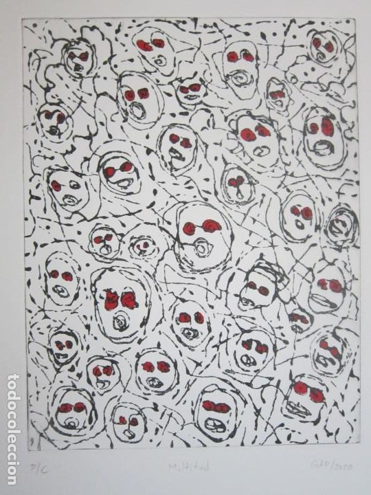 MULTITUD - GRABADO DE GAP (GUILLERMO ANTÓN PARDO) - 39X49,5CM - AGUATINTA AL AZÚCAR COLOREADA A MANO (Arte - Grabados - Contemporáneos siglo XX)