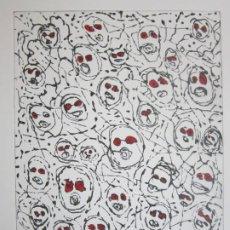 Arte: MULTITUD - GRABADO DE GAP (GUILLERMO ANTÓN PARDO) - 39X49,5CM - AGUATINTA AL AZÚCAR COLOREADA A MANO. Lote 194228343