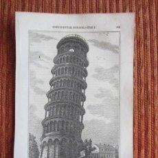 Arte: 1848-TORRE DE PISA.ITALIA.SCENES AND SKETCHES IN CONTINENTAL EUROPE.GRABADO ORIGINAL. Lote 194276300