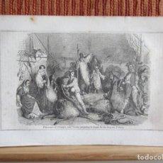 Arte: 1848-PESCADORES VENECIA.PREPARANDO LA PESCA.CHIOGGIA.ITALIA.GRABADO ORIGINAL. Lote 194279435