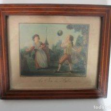 Arte: ANTIGUO GRABADO A COLOR - LE JEU DU BALLON (EL JUEGO DE PELOTA) - J.B. HUET - GRABADO POR AUVRAY. Lote 194304900