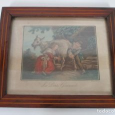 Arte: ANTIGUO GRABADO A COLOR - LES PETITS GOURMANDS - J.B. HUET - L. M BONNET GRABADOR. Lote 194308820