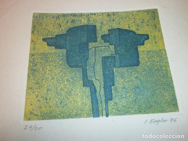 Arte: Obra gráfica Jacob Engler 96 - grabado litografía 24/30 papel 27X19 cm. mancha 14 X 11,5 cm. - Foto 2 - 194388710