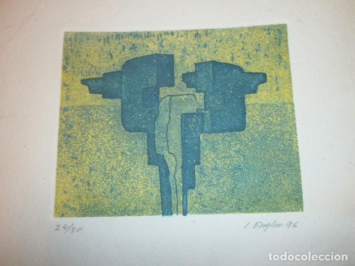 Arte: Obra gráfica Jacob Engler 96 - grabado litografía 24/30 papel 27X19 cm. mancha 14 X 11,5 cm. - Foto 3 - 194388710