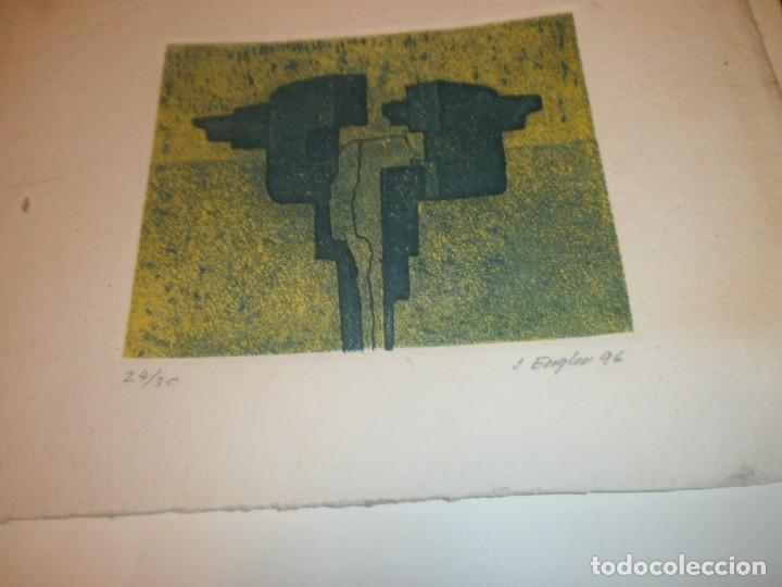 Arte: Obra gráfica Jacob Engler 96 - grabado litografía 24/30 papel 27X19 cm. mancha 14 X 11,5 cm. - Foto 5 - 194388710