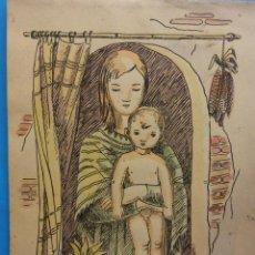 Arte: ORIGINAL. OBRA DE FRANCESC GASSÓ. COLOREADO. MUJER. MEDIDAS 18*24. Lote 194491288
