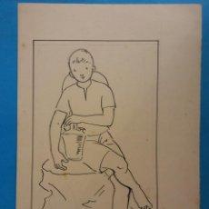 Arte: ORIGINAL. OBRA DE FRANCESC GASSÓ. HOMBRE. MEDIDAS 10*16. Lote 194491391