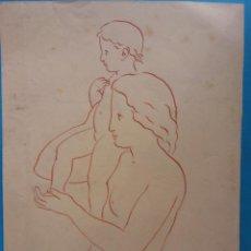 Arte: ORIGINAL. OBRA DE FRANCESC GASSÓ. MUJER Y NIÑO. MEDIDAS 15*21. Lote 194491485