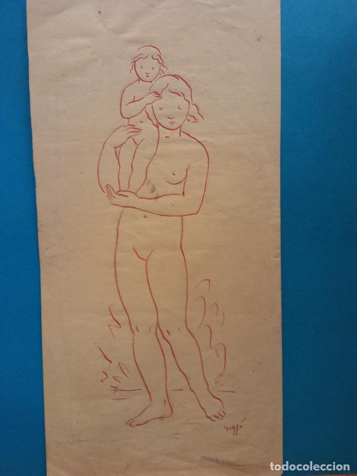 ORIGINAL. OBRA DE FRANCESC GASSÓ. MUJER Y NIÑO. MEDIDAS 11*22 (Arte - Grabados - Contemporáneos siglo XX)