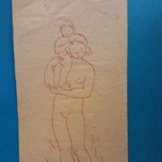 Arte: ORIGINAL. OBRA DE FRANCESC GASSÓ. MUJER Y NIÑO. MEDIDAS 11*22. Lote 194491543