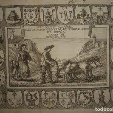 Arte: GRABADO REINO JAÉN 22 ESCUDOS, MARTOS, LINARES, CAZORLA, ARJONA...,ORIGINAL, MADRID, 1778, PALOMINO.. Lote 194494017