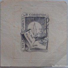 Arte: GRABADO EX LIBRIS,, VITA SAPIENTI COMMENDET, RAYMUNDI LLIDO, FIRMA JUAN CHORNO. Lote 194541106