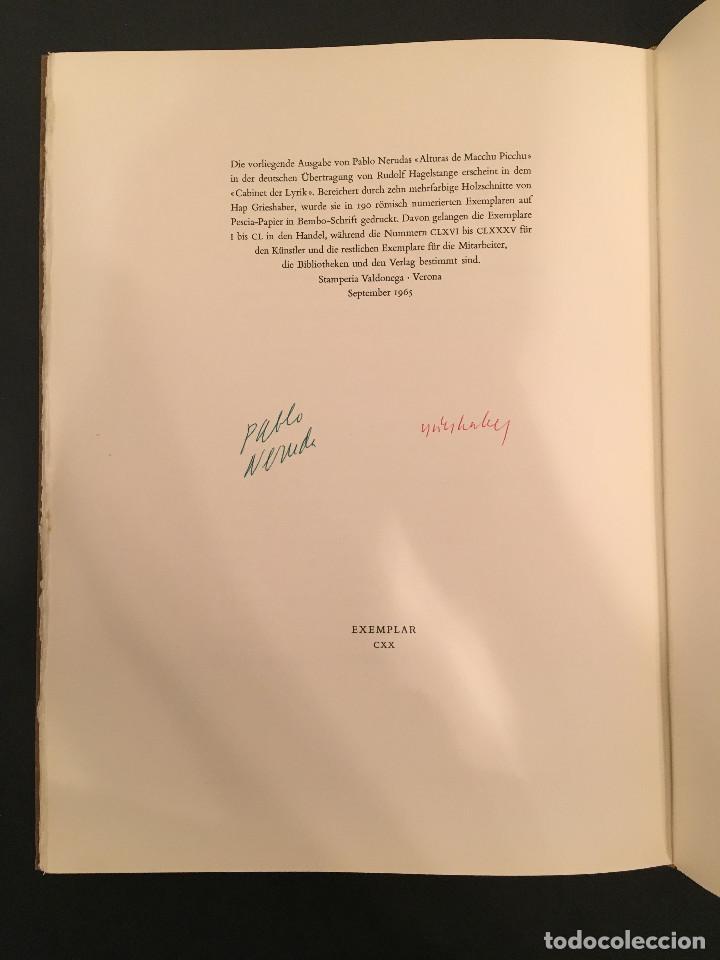 PABLO NERUDA - ALTURAS DE / DIE HÖHEN VON MACCHU PICCHU - GRABADOS HAP GRIESHABER - FIRMADO (Arte - Grabados - Contemporáneos siglo XX)