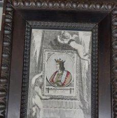 Arte: GRABADO EN RELIEVE S.XVIII FERNANDO EL CATOLICO - COSIDO A MANO HILO PLATA. Lote 194619812