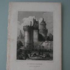 Arte: FRANCIA, ANTIGUO GRABADO CHARDON AINÉ ET FILS HAUTEFEUILLE PARIS FURNE S. XIX : CASTILLO DE ALENSON. Lote 194622608