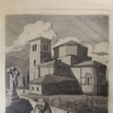 Arte: MANUEL LLEDÍAS 1959 GRABADO COLEGIATA DE CASTAÑEDA SANTANDER. Lote 194636818