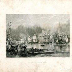 Arte: NEWCASTLE-UPON-TYNE GRABADO POR E. FINDEN DE UN DIBUJO DE G. BALMER. Lote 194692490