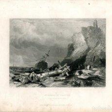 Arte: TYNEMOUTH CASTLE GRABADO POR E. FINDEN DE UN DIBUJO DE G. BALMER. Lote 194692682