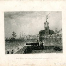 Arte: VIEW FROM THE SALUTING PLATFORM, PORTSMOUTH, GRABADO POR E. FINDEN, DIBUJÓ E.W. COOKE. Lote 194692790