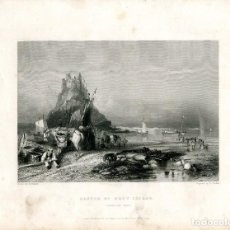 Arte: CASTLE OF HOLY ISLAND ENGRAVED BY E. FINDEN DE UN DIBUJO DE G. BALMER. Lote 194693395