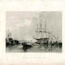 Arte: GOSTPORT FLAG SHIP SALUTING GRABADO POR W. FINDEN DE UN DIBUJO DE E.W. COOKE . Lote 194693531