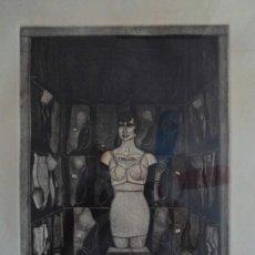Arte: ALFREDO ALCAIN (MADRID 1936) GRABADO DE 24X33 PAPEL 77X55 Y MARCO 88X66 FIRMADO ALCAIN 71 Y NUM /100. Lote 194710875
