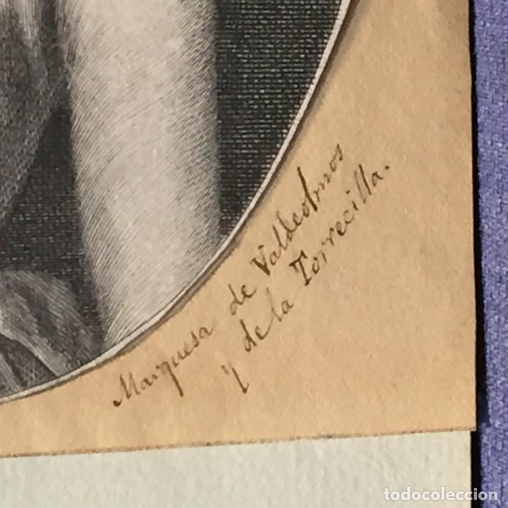 Arte: ANTIGUO GRABADO MARQUESA DE VALDEOLMOS Y DE LA TORRECILLA SXVIII ESPAÑA 17X12CM - Foto 7 - 194754800
