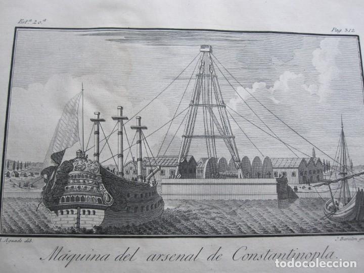 Arte: ANTIGUO GRABADO DE LA MAQUINA DE ARSENAL DE CONSTANTINOPLA REALIZADO POR A. AGUADO - BARCELONA 1788 - Foto 7 - 194769325