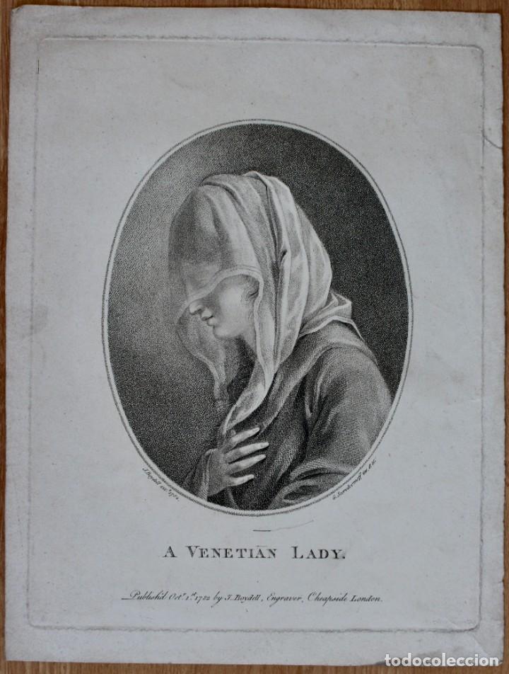 GRABADO- A VENETIAN LADY- J.BOYDELL- 1782 LONDON - G SCORODOOMOFF INV.ET SC (Arte - Grabados - Antiguos hasta el siglo XVIII)