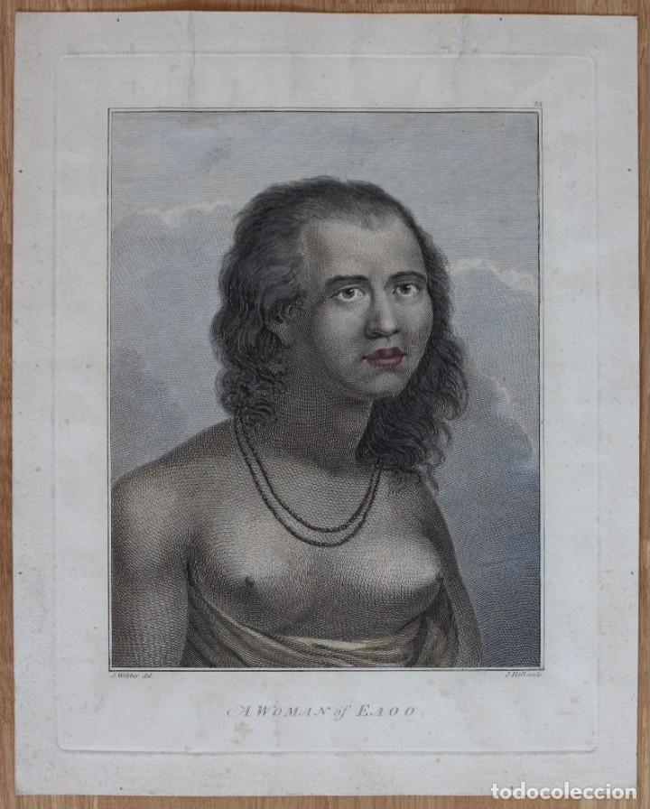 GRABADO- J.WEBBER DEL.- A WOMAN OF EAOO - J. HALL SCULP. (Arte - Grabados - Antiguos hasta el siglo XVIII)