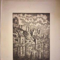 Arte: TOLEDO- EL TAJO- AGUAFUERTE- JAIME POY- AÑO 1.953. Lote 194782481
