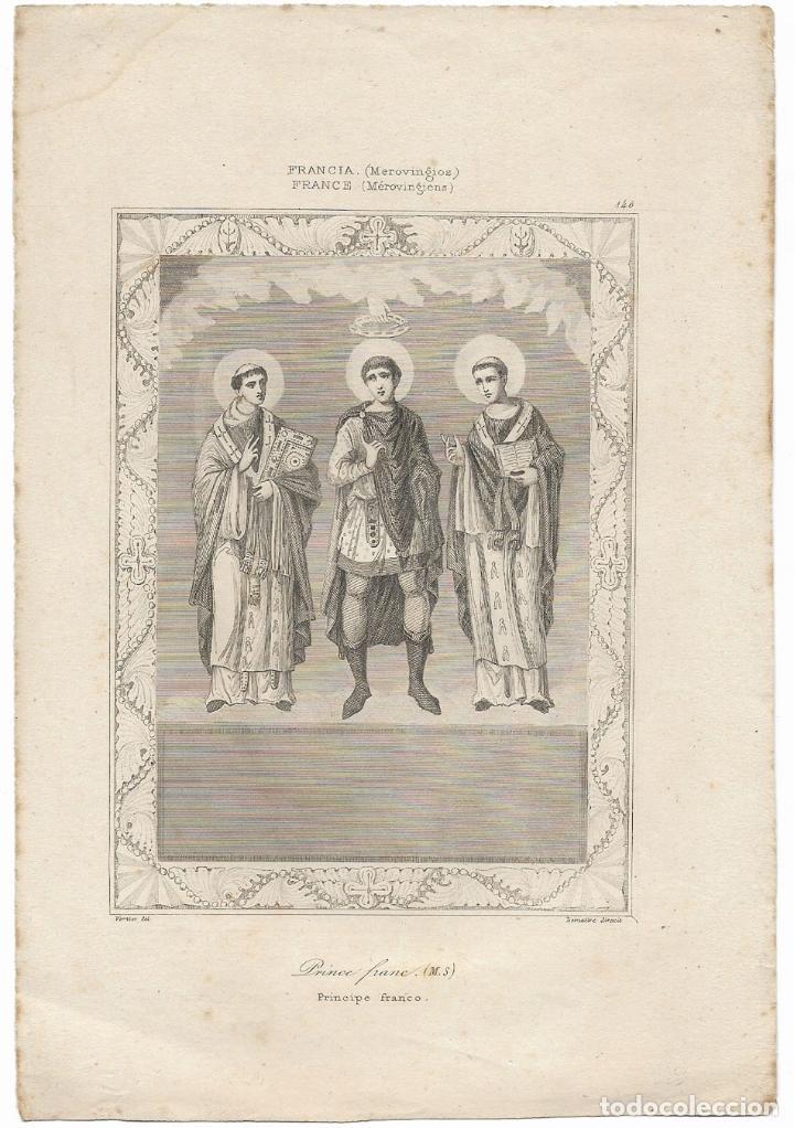 FRANCIA (MEROVINGIOS) PRINCE FRANC - VERNIER DEL. LEMAITRE DIREXIT - (14X20,5) (Arte - Grabados - Modernos siglo XIX)