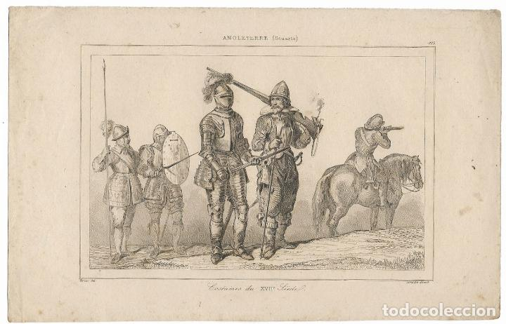 INGLATERRA (STUARTS) COSTUMES S.XVII - VERNIER DEL. LEMAITRE DIREXIT - (12,5X20) (Arte - Grabados - Modernos siglo XIX)