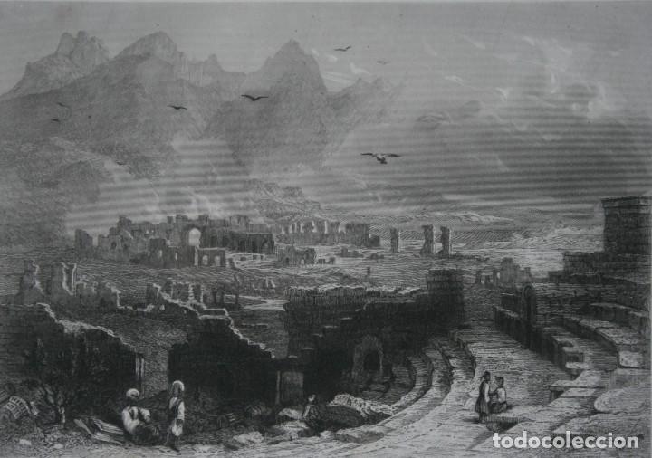 FRANCIA, ANTIGUO GRABADO CHARDON AINÉ ET FILS HAUTEFEUILLE PARIS FURNE SIGLO XIX : RUINAS HIERAPOLIS (Arte - Grabados - Modernos siglo XIX)