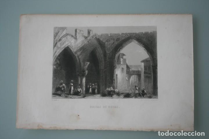 Arte: FRANCIA, ANTIGUO GRABADO CHARDON AINÉ ET FILS HAUTEFEUILLE PARIS FURNE SIGLO XIX : RUINAS DE RODAS - Foto 2 - 194880740