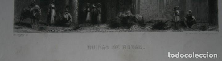 Arte: FRANCIA, ANTIGUO GRABADO CHARDON AINÉ ET FILS HAUTEFEUILLE PARIS FURNE SIGLO XIX : RUINAS DE RODAS - Foto 3 - 194880740