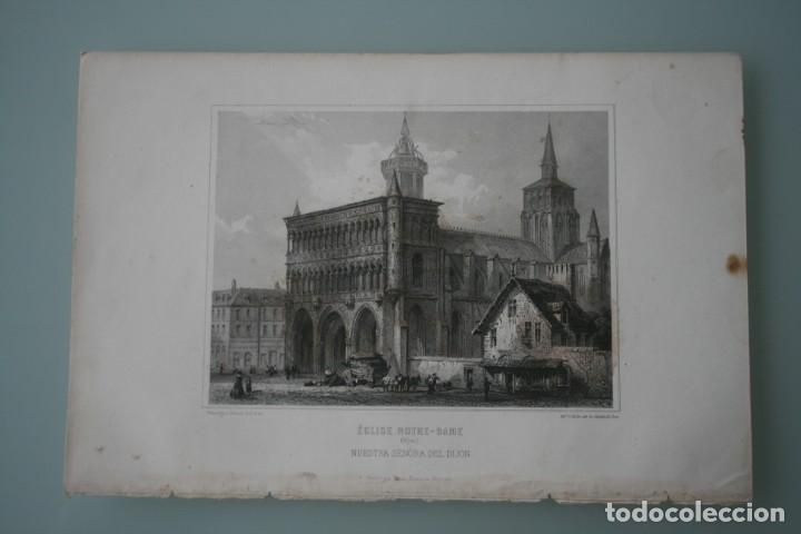 FRANCIA, ANTIGUO GRABADO CHARDON AINÉ HAUTEFEUILLE PARIS FURNE SIGLO XIX : ECLISE NOTRE DAME DIJON (Arte - Grabados - Modernos siglo XIX)
