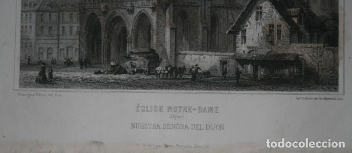 Arte: FRANCIA, ANTIGUO GRABADO CHARDON AINÉ HAUTEFEUILLE PARIS FURNE SIGLO XIX : ECLISE NOTRE DAME DIJON - Foto 2 - 194881030