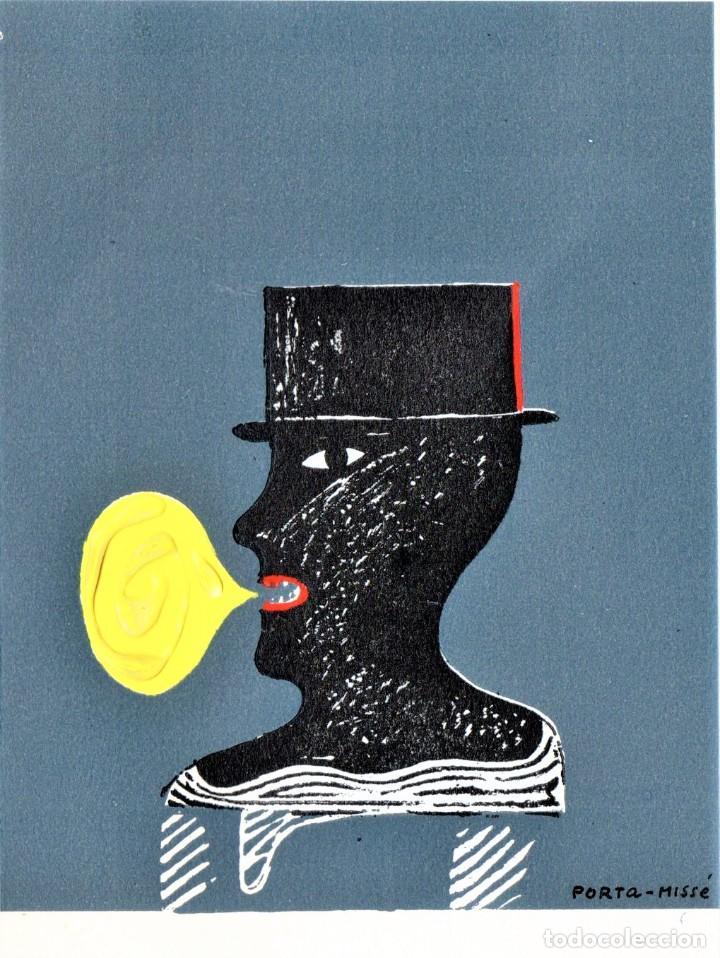 SURREALISMO,GRABADO ORIGINAL,PORTA MISSE,PARCIALMENTE PINTADO AL OLEO,DEDICADO,ESTILO DALI,PICASSO (Arte - Grabados - Contemporáneos siglo XX)