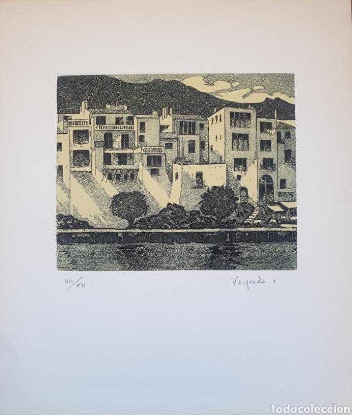 Arte: Josep Mª Vayreda Canadell (Olot, 1932-2001) - Cadaqués.Gran Grabado.Firmado. - Foto 2 - 194939866