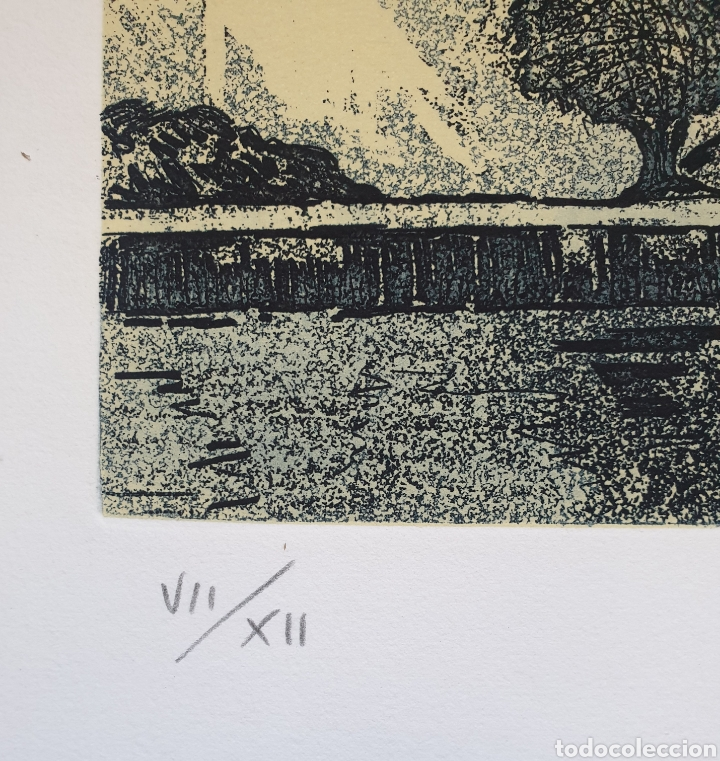 Arte: Josep Mª Vayreda Canadell (Olot, 1932-2001) - Cadaqués.Gran Grabado.Firmado. - Foto 4 - 194939866