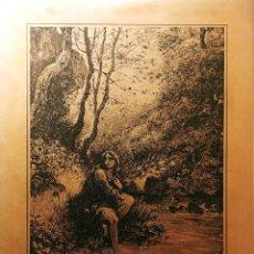 Arte: PLANCHA DE COBRE GRABADA CON LÁSER (48,5 X 39 CM.), CON IMAGEN DE UNA NINFA EN EL BOSQUE. Lote 194994002