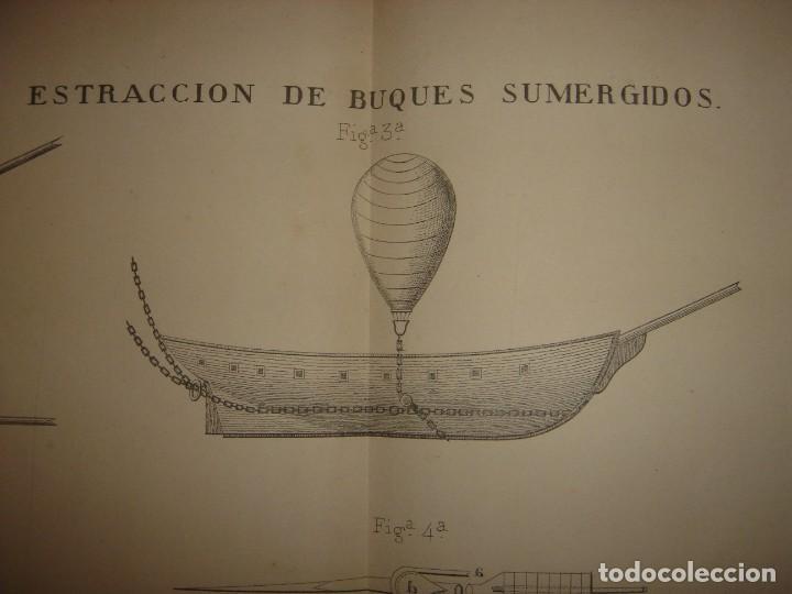 ESPLÉNDIDO GRABADO TECNOLOGÍA, SIGLO XIX, EXTRACCIÓN DE BUQUES SUMERGIDOS, MADRID, ORIGINAL 1879 (Arte - Grabados - Modernos siglo XIX)