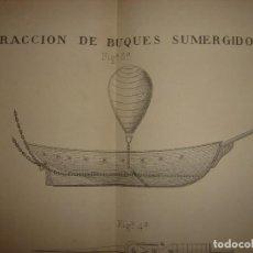 Arte: GRABADO TECNOLOGÍA, SIGLO XIX, EXTRACCIÓN DE BUQUES SUBMARINOS, MADRID, ORIGINAL 1879.. Lote 194998411