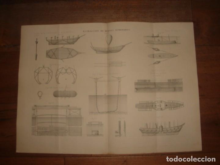 Arte: ESPLÉNDIDO GRABADO TECNOLOGÍA, SIGLO XIX, EXTRACCIÓN DE BUQUES SUMERGIDOS, MADRID, ORIGINAL 1879 - Foto 2 - 194998411