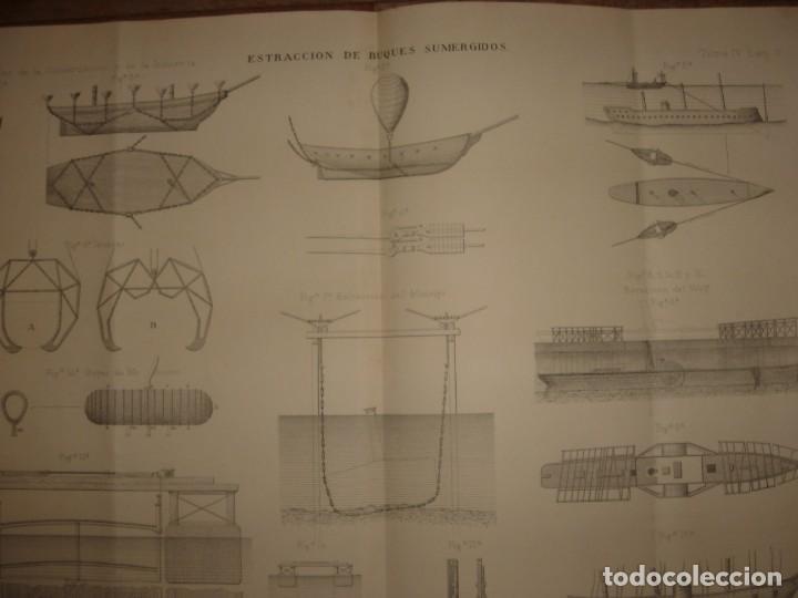 Arte: ESPLÉNDIDO GRABADO TECNOLOGÍA, SIGLO XIX, EXTRACCIÓN DE BUQUES SUMERGIDOS, MADRID, ORIGINAL 1879 - Foto 3 - 194998411