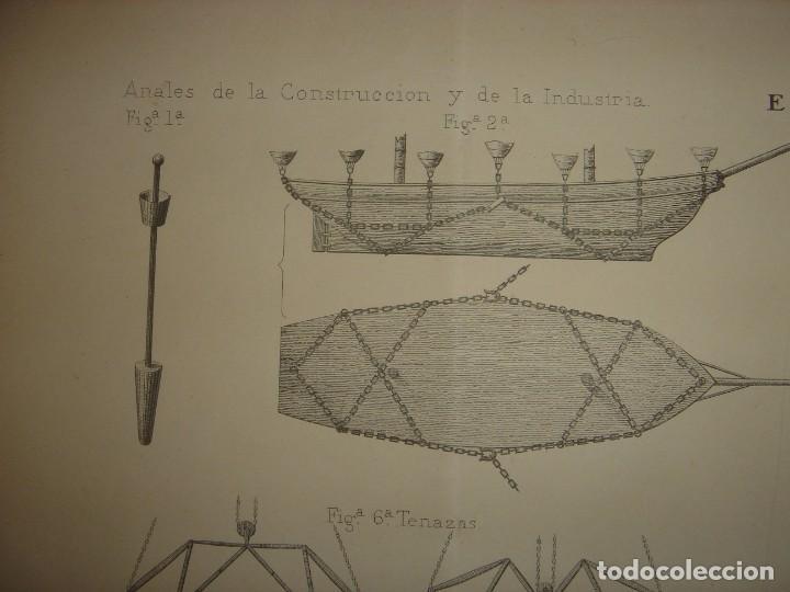Arte: ESPLÉNDIDO GRABADO TECNOLOGÍA, SIGLO XIX, EXTRACCIÓN DE BUQUES SUMERGIDOS, MADRID, ORIGINAL 1879 - Foto 4 - 194998411