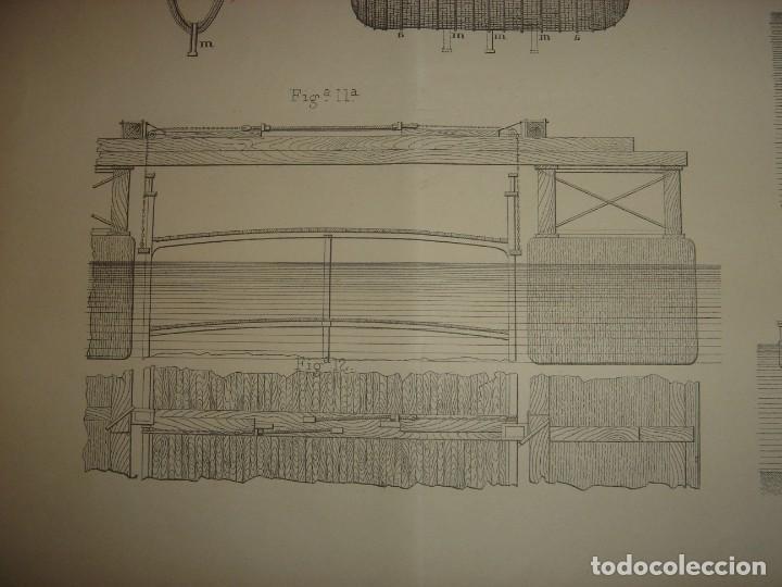 Arte: ESPLÉNDIDO GRABADO TECNOLOGÍA, SIGLO XIX, EXTRACCIÓN DE BUQUES SUMERGIDOS, MADRID, ORIGINAL 1879 - Foto 6 - 194998411